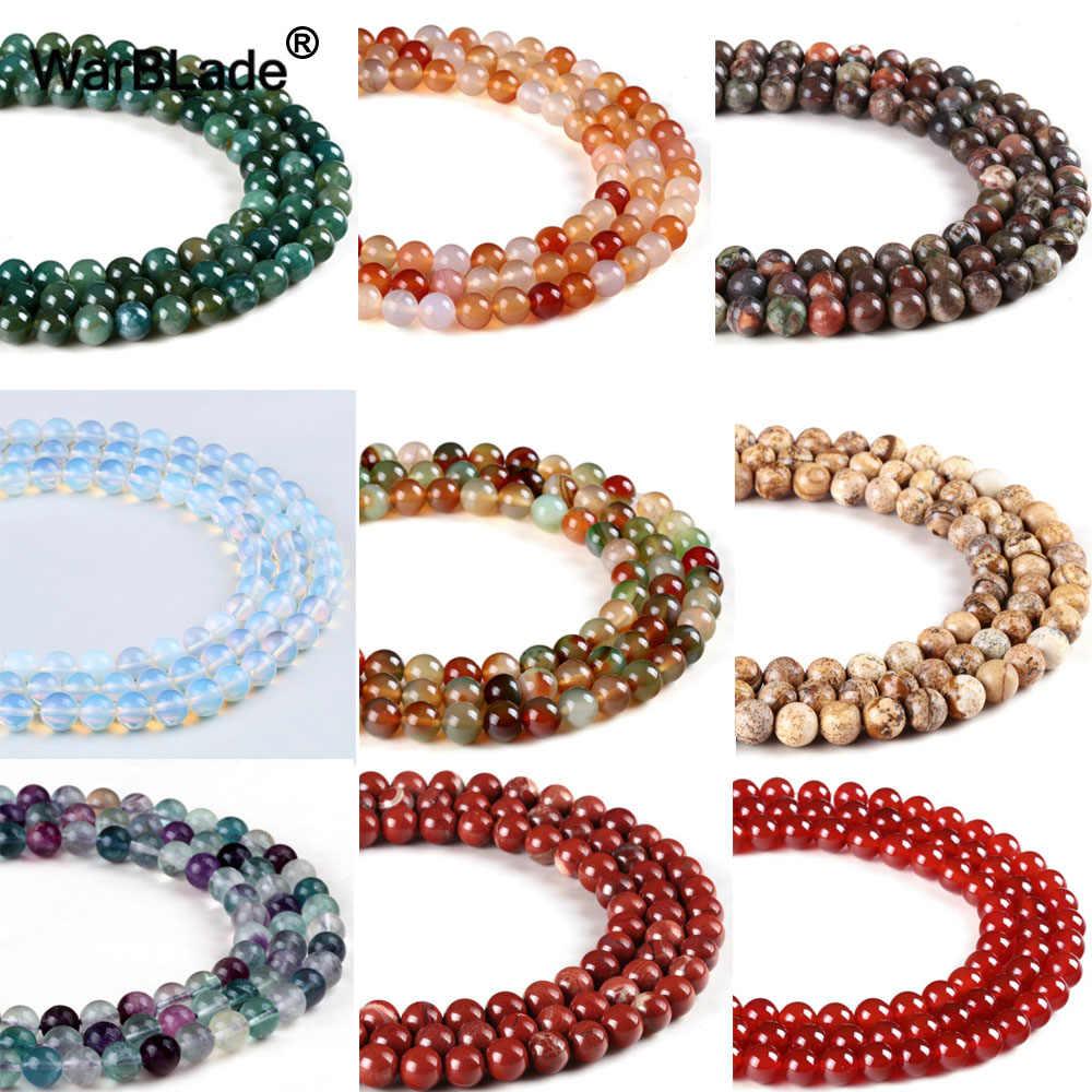 Alta calidad 4 6 8 10 12 14mm cuentas de piedra Natural ónix rojo jaspe rojo AGATE redondo cuentas sueltas para hacer joyería pulsera DIY