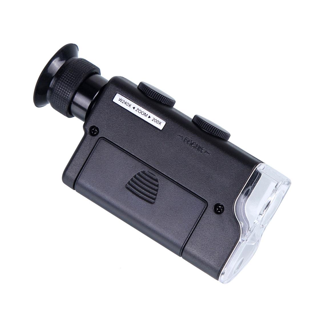 Mini Portátil de Bolso Microscópio 200X ~ 240X Portátil CONDUZIU a Luz Da Lâmpada Lupa Lente Zoom Lupa Lupa Lupa de Bolso