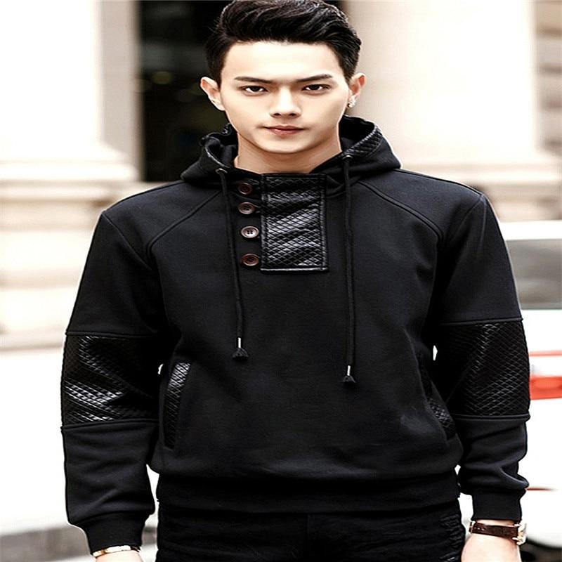 men plus size cotton PU leather tracksuits hoodies 2XL 3XL 4XL 5XL 6XL 7XL add velvet
