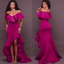 vestido de festa longo Evening Gowns With Sleeves Evening Gown Ruffles  vestido longo Fuchsia Formal Dress eb131b403a4e
