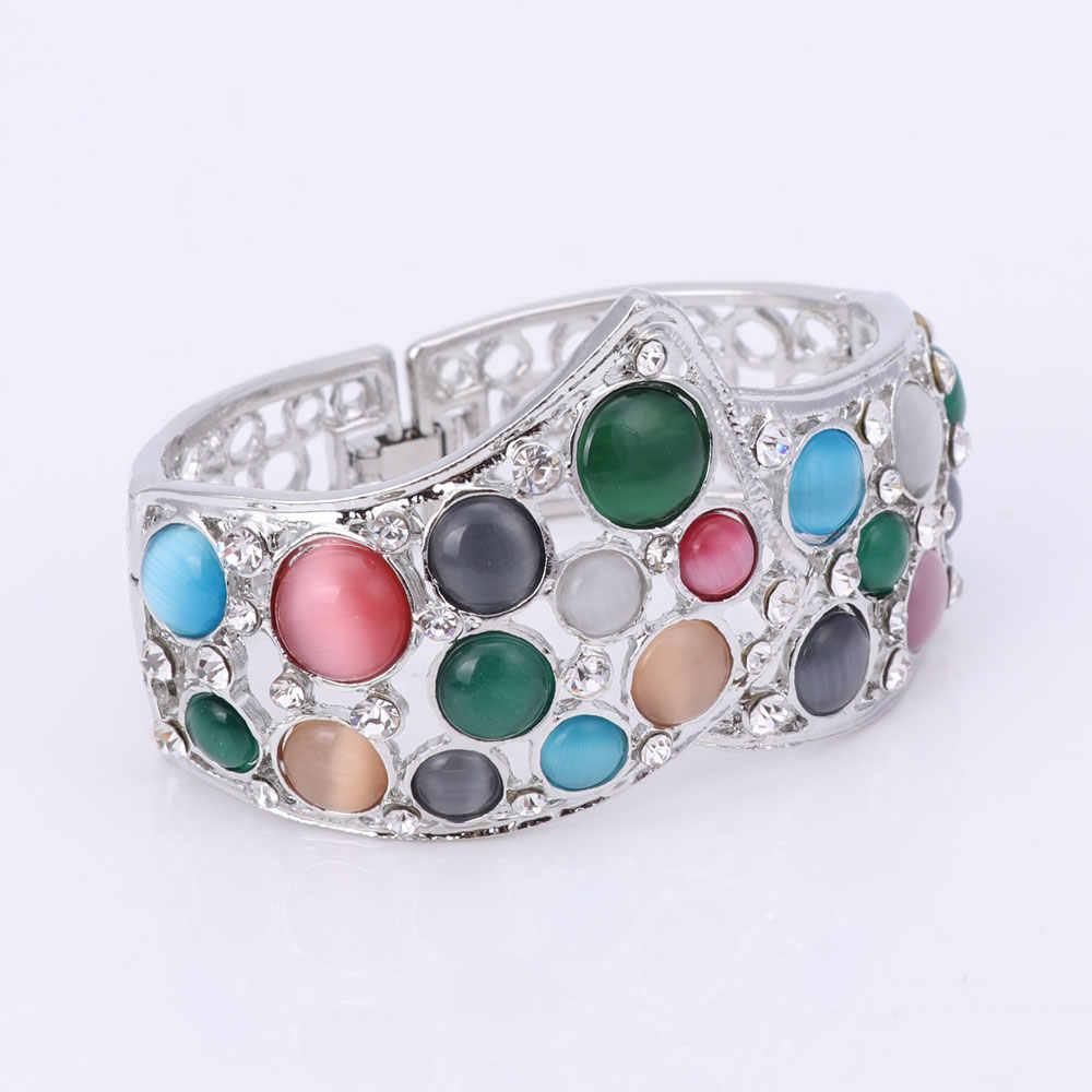 Hochzeit Braut Strass-Schmuck-Set Für Frauen Kristall Halskette Armband Ring Ohrringe Versilbert Luxus Zubehör