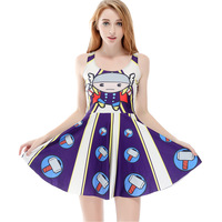 Hot Sexy Sleeveless Pleated Knee Length Dress With Cartoon Characters Prints Designed For Beautiful Women