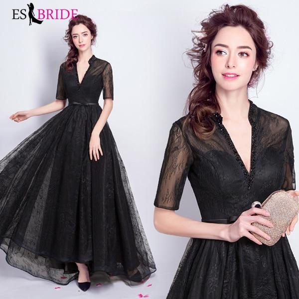 Black   Evening     Dress   Vestidos De Fiesta De Noche Birthday Party   Evening     Dresses   Sexy V-Neck   Evening   Gown Robe De Soiree ES2071