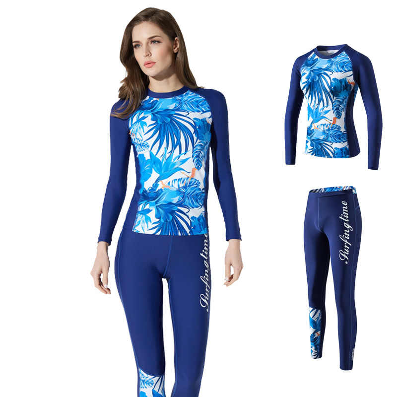 Dua Surfing Baju Renang Lengan Panjang Baju Renang Wanita Ruam Penjaga Wanita Pakaian Plus Ukuran Snorkeling Menyelam K Berlaku 2019