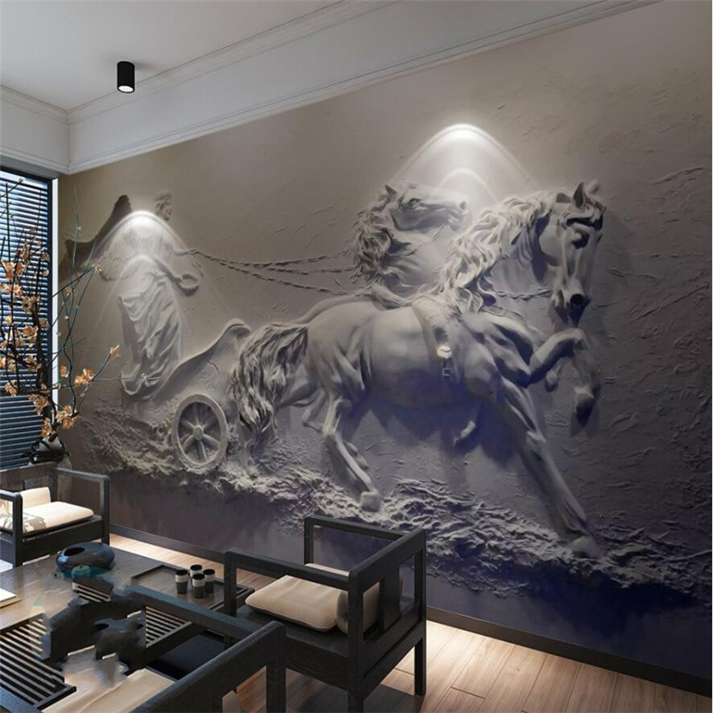Custom Mural Wallpaper 3d Stereoscopic Relief Pearl: Beibehang 3d Stereoscopic Angel Carriage Relief Background