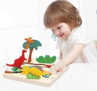Wood Puzzle Dinosaur Multi Imensional 3D Jigsaw Multilayer Cartoon Puzzle Educational Toy For Child