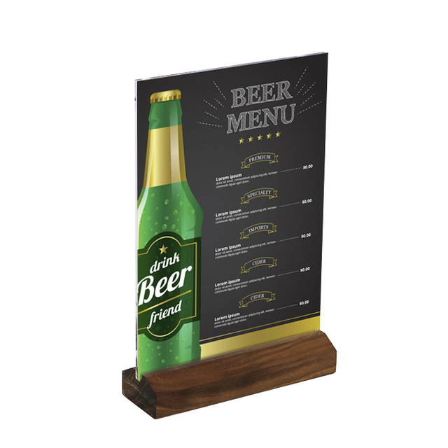 A4 Frame Black Walnut Wood Photo Stand Countertop Menu Stand Restaurant Food Price Tag Display Advertising Poster Frame Stand