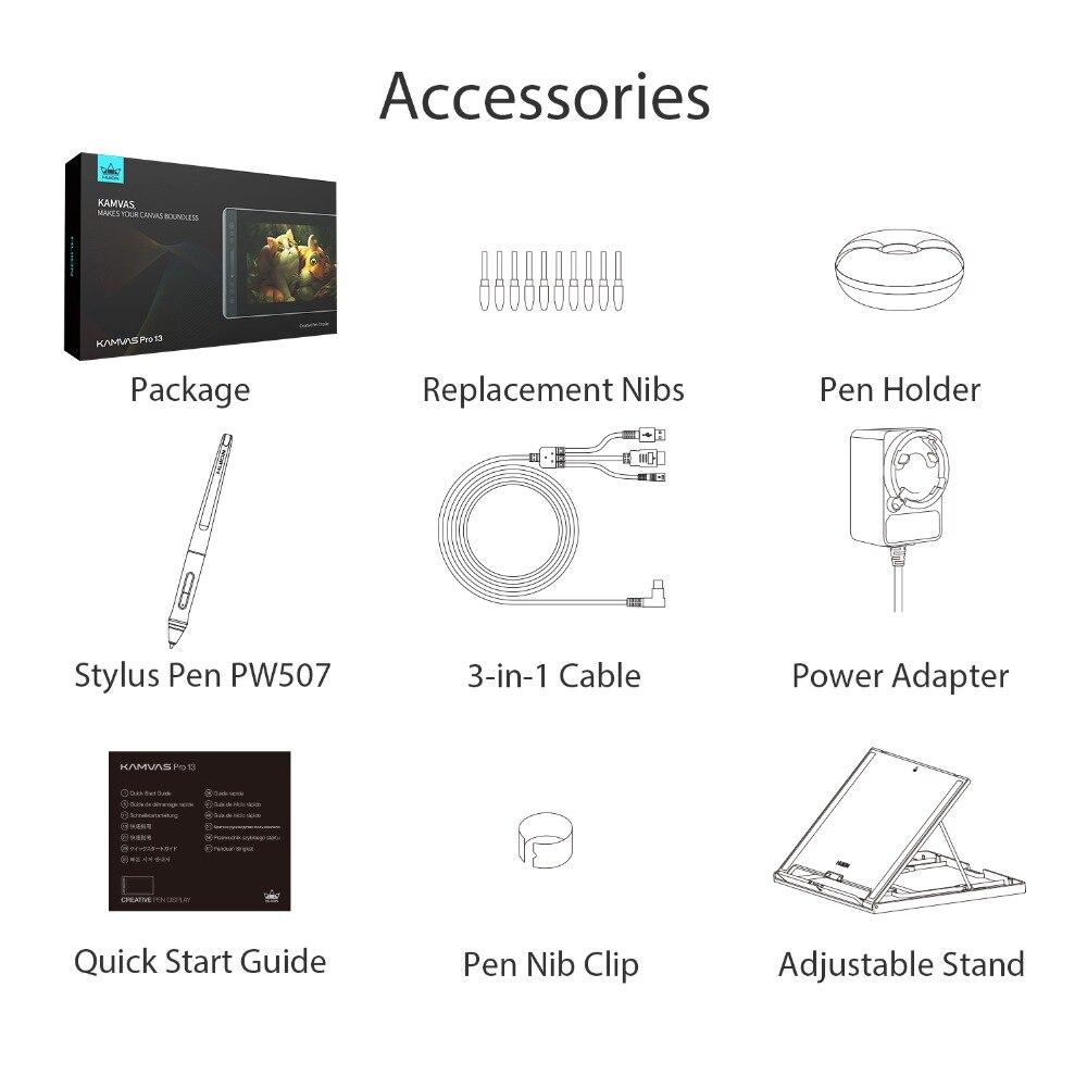 HUION KAMVAS Pro 13 GT-133 stylo tablette moniteur numérique tablette sans batterie stylo affichage dessin moniteur avec inclinaison Func AG verre - 6