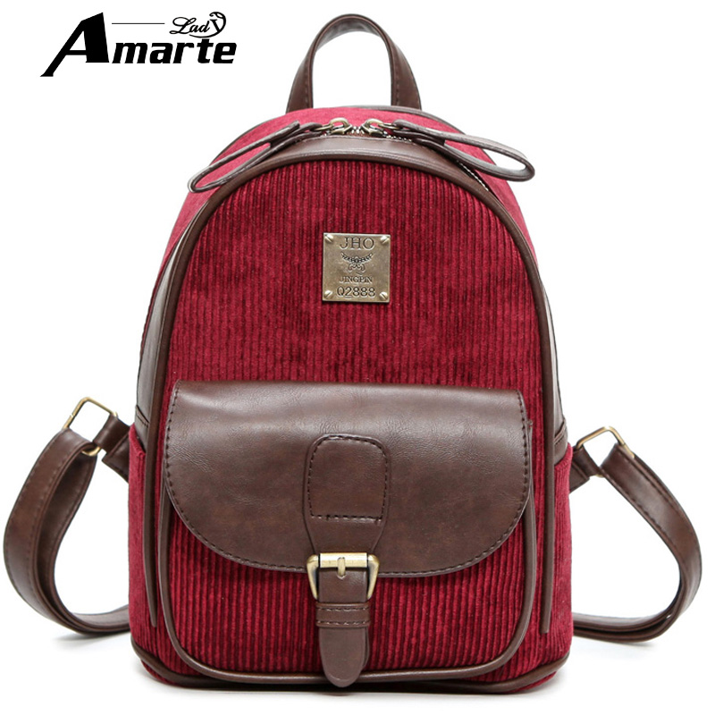 2016 Vintage Small Backpack Leather Patchwork Women Backpacks Double Zipper Girls Travel Shoulder Bags Rucksack