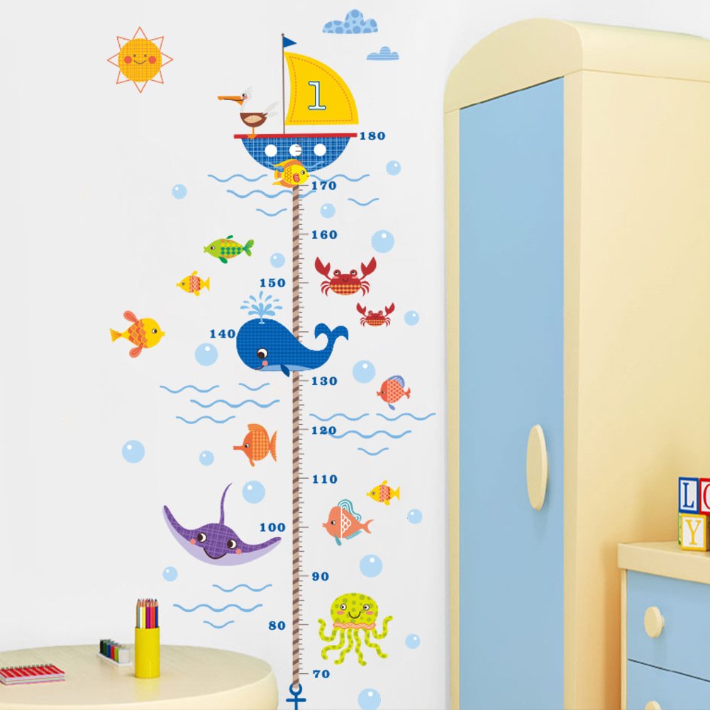 US $4.01 65% OFF|Creative Nautical Cartoon Underwater World Height Sticker  For Children\'s Bedroom Wall Stickers For Kids Rooms Nautical decor-in Wall  ...