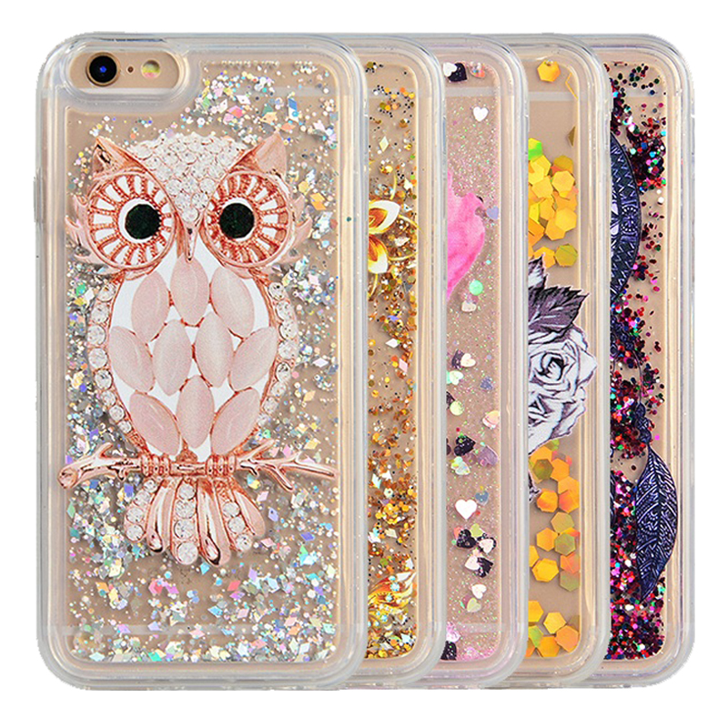 YOKATA Cartoon Case For iPhone 4 4S 5 5S SE 6 6s 6 7 Plus Clear Silicone Owl Quicksand Phone Back Cover For iPod Touch 5 6 Case