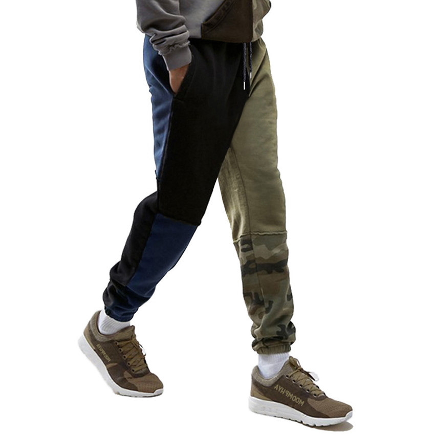 Mens New Spring Jogger Pants Men Cotton Camouflage Patchwork Sweatpants Fitted Sweat Pants Casual Trousers Pants Stretchy Homme