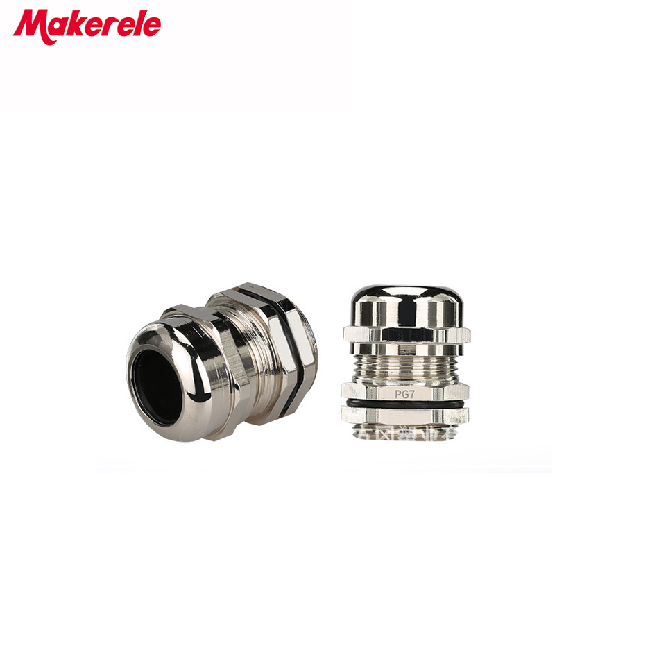 10pcs/lots PG7 Nickel Brass Metal Waterproof Cable Glands Joints IP68 cable connector for 3-6.5mm cable image