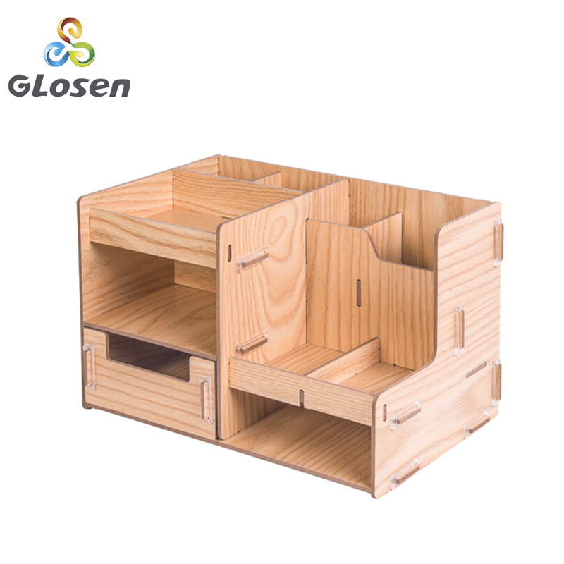 Wooden File Rack Multi-function Stationery Storage Box Student DIY Creative Partition Office Supplies Storage Box D2069 Glosen