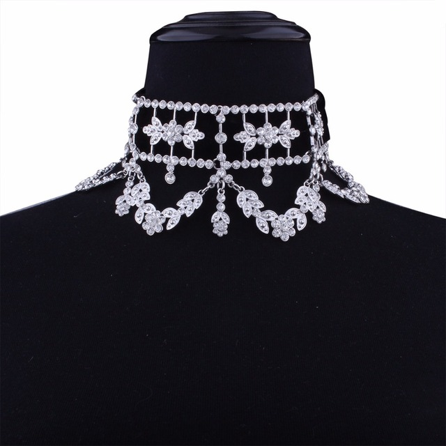 KMVEXO 2017 Fashion Crystal Rhinestone Choker Necklace Velvet Statement Necklace for Women Collares Chocker Jewelry Party Gift 5
