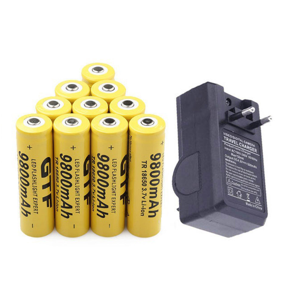 GTF 9800mAh 3.7V 18650 Battery Li- ion batteria Rechargeable Battery For LED Flashlight Torch + EU Charger For 18650 Battery