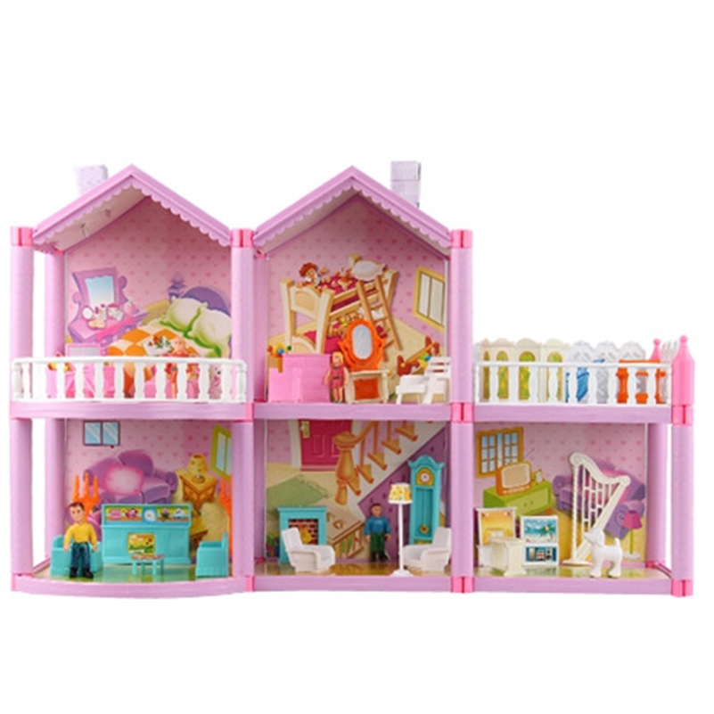 59.5*38cm No.958 DIY Family Doll House Toy Luxury Villa With Miniature Furniture Garage Toys For Girl Gifts