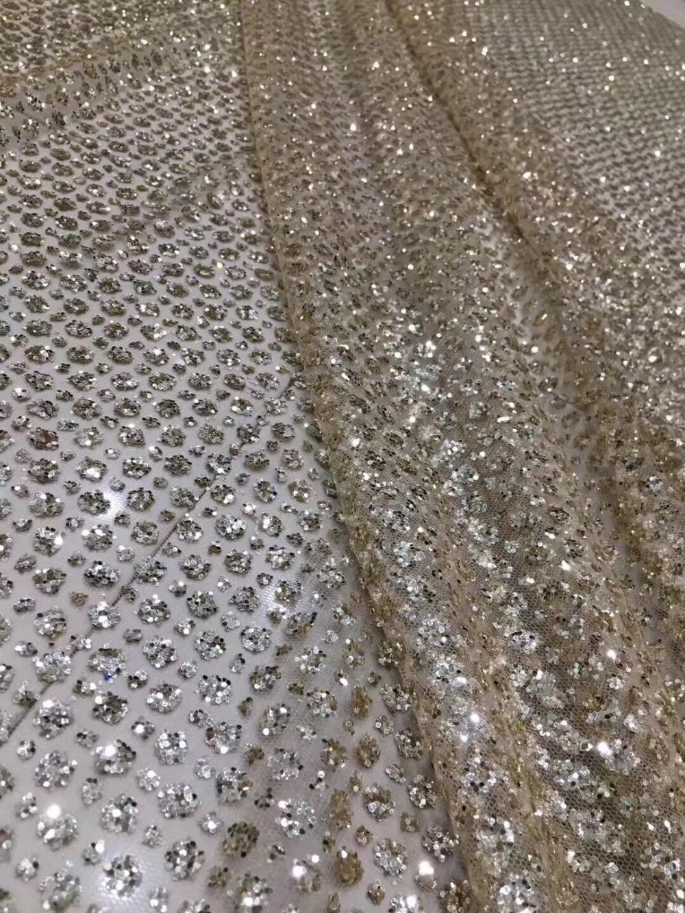 high quality JIANXI.C 11632 African French net tulle Lace Fabric for party Hot selling glued glitter sequins lace fabric-in Lace from Home & Garden    1