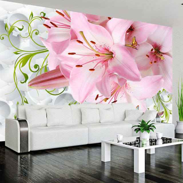 Online Shop Custom Photo Wall Paper 3D Lily Flower Butterfly Living ...