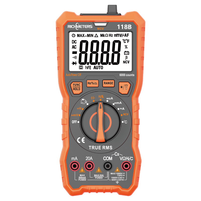 RM118B 20A Digital Multimeter Auto-Ranging 6000 Counts NCV True-RMS 100mF Capacitance Magnet AC/DC Voltage Current Temperature