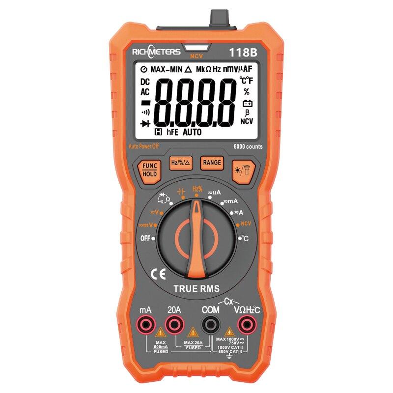 Aletler'ten Multimetreler'de RM118B 20A dijital multimetre otomatik aralığı 6000 sayımlar NCV true rms 100mF kapasite mıknatıs AC/DC gerilim akım sıcaklık title=