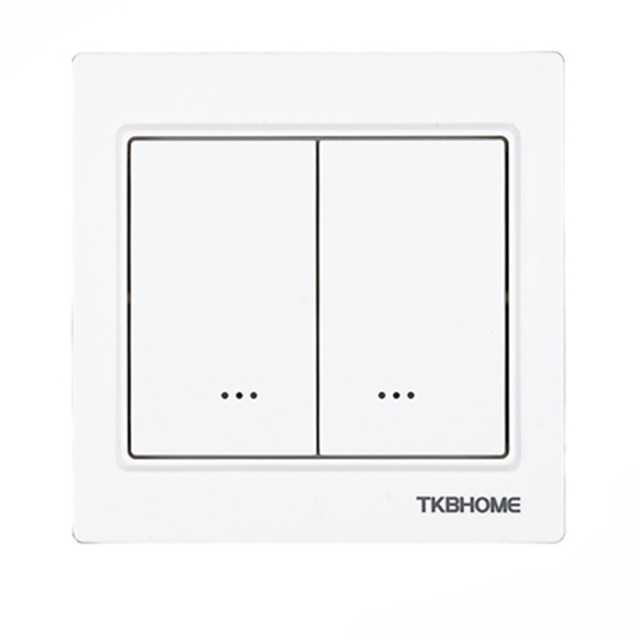 Z Wave plus EU Frequency 868.42MHz Two Channel Wall Mounted Switch socket TKB home TZ57 86X86mm type ( replace TZ65S TZ66S )