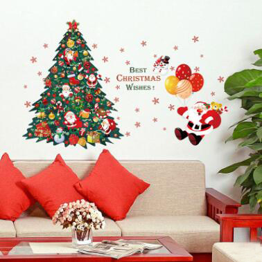 DIY Merry Christmas Wall Stickers Decoration Santa Claus Snowman Tree  Window Wall Stickers Removable PVC Wall Decals Xmas Decor