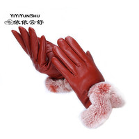 YIYIYUNSHU Women Genuine Leather Real Rex Rabbit Fur Gloves Autumn Winter Female Leather Gloves Solid Warm Fur Mittens Gloves
