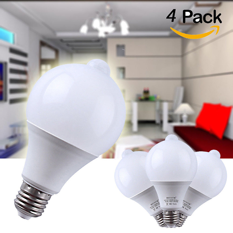4PCS 9W Light Control Motion Sensor Light+PIR Motion Sensor LED Bulb E27 Led Bulb Auto Smart Led PIR Infrared Body Sound auto pir led keyhole light genjia human body infrared door lock induction lamp built in 4 led motion sensor light with sticker