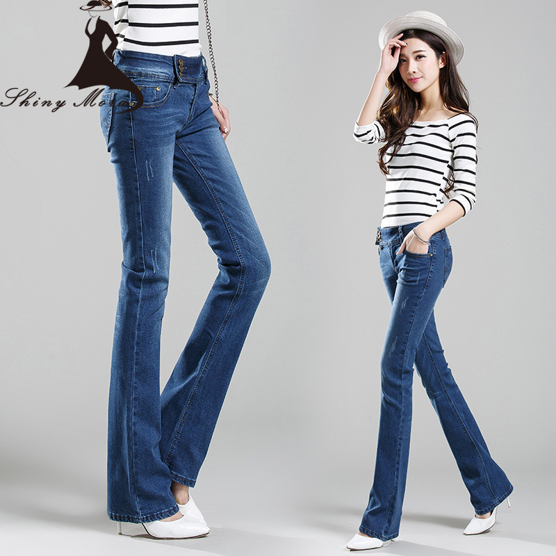 Europe Fashion Flare Pants Jeans for Women Summer and Spring Office Lady Jeans Denim OL Casual Trousers Wide Leg Long Jeans free shipping 2017 new fashion long spring and summer bell bottom jeans boot cut women slim long trousers lacing up flare pants