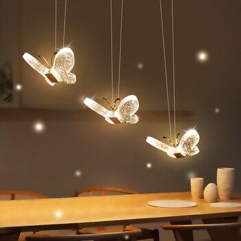 Nowoczesna kryształowa wisiorek z motylem światła nowość minimalistyczna oprawa Led Lustre zawieszenie sypialnia jadalnia balkon światła
