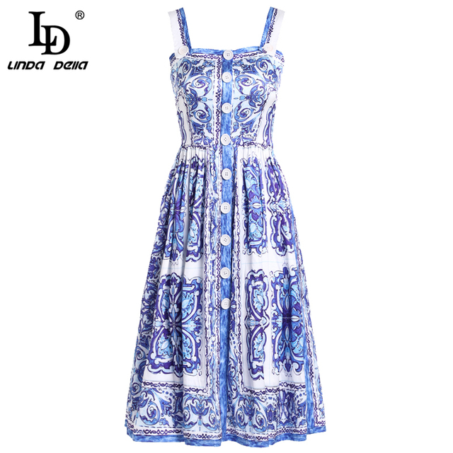 Summer Dress Women's Blue and white Floral Printed Casual Dress