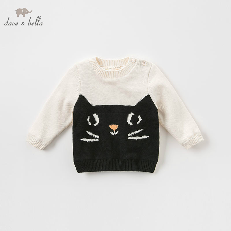 DBJ9157 dave bella autumn infant baby unisex fashion top kids toddler pullover children boutique knitted sweater db4013 dave bella autumn baby girl sweet design sweater toddler sweaters infant clothes girl soft sweater high quality