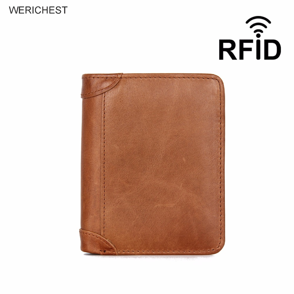 WERICHEST RFID Protection Men Wallets Genuine Leather Carteira Trifold Billetera Hombre Wallet Purse