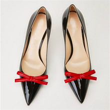 2016 new woman fashion style pointed toe high heels shoes bowknot shallow mouth patent leather shoes single women shoes obl915-8