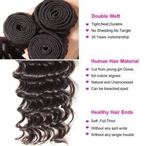 Image 3 - Longqi Brazilian Deep Wave Bundles with Closure Remy Human Hair Bundles with Closure Natural Color 4x4 Lace Closure with Bundles