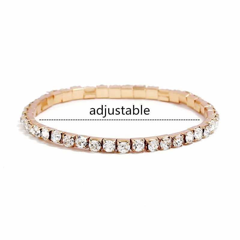 L003 CZ Crystal Bracelet Bangle Stretch Bling Single Row Rhinestones Bracelets For Women Elasticity Wedding Bridal Gift Jewelry