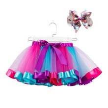 2-10 Years Girls Pony Rainbow Tutu Skirts Costumes With Big Bow Hair hoop for Kids Birthday Theme Party Cosplay 2ps