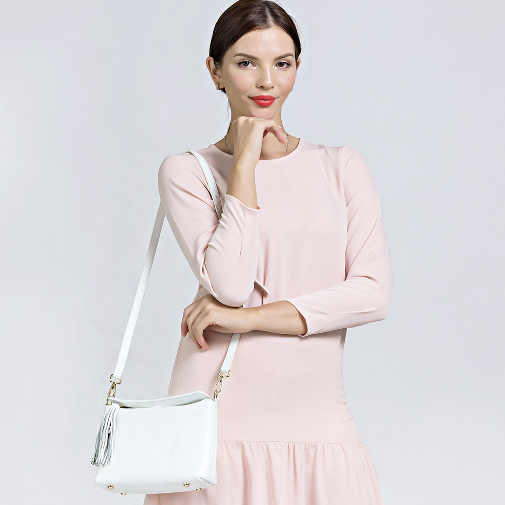 Zency New Arrivals White Women Shoulder Bag 100% Genuine Leather Handbag Black Fashion Lady Crossbody Purse Tote Apricot-in Shoulder Bags from Luggage & Bags    2