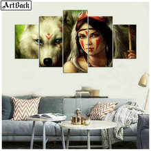 5 spell diamond painting wolf woman indians full square drill mosaic 3d embroidery sticker