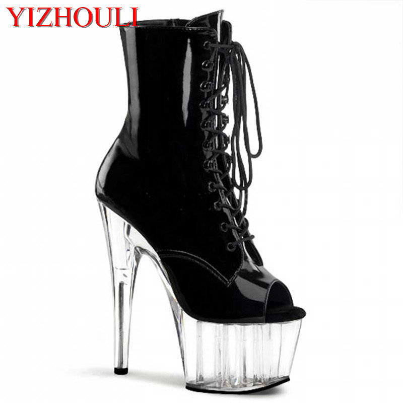15 cm high heel boots, sexy skinny sexy nightclub dancing shoes, transparent platform fashion women's ankle boots 20cm pole dancing sexy ultra high knee high boots with pure color sexy dancer high heeled lap dancing shoes