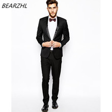 mens suit slim fit custom made groom wedding suit formal wear black tuxedo 2017 shiny collar dress
