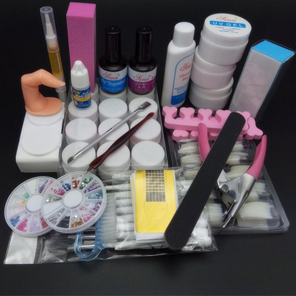 TIPART Nail Art Tool Full Set 12 Color <font><b>UV</b></font> Gel Kit Brush Nail Art Set One base <font><b>coat</b></font> + one top <font><b>coat</b></font> 100pcs nail tips - natural