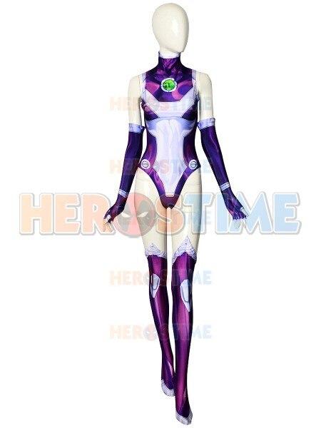 3D Printing Starfire Cosplay Costume Custom Made Sexy Female Girl Zentai Catsuit Superhero Costume For Halloween