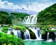 купить Beibehang Custom wallpaper waterfall landscape landscape living room bedroom TV background mural photo  wallpaper for walls 3 d дешево
