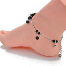 New Trendy Simple Sliver color Chain Anklet Bracelet black Agate Beads Bell Ball Foot Jewelry Barefoot Beach Anklet For Women