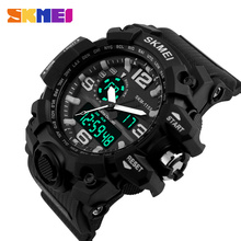 SKMEI Big Dial Men Digital Watch Military Clock Sports Watches Water Resistant Calendar LED Dual Display Wristwatches 1155