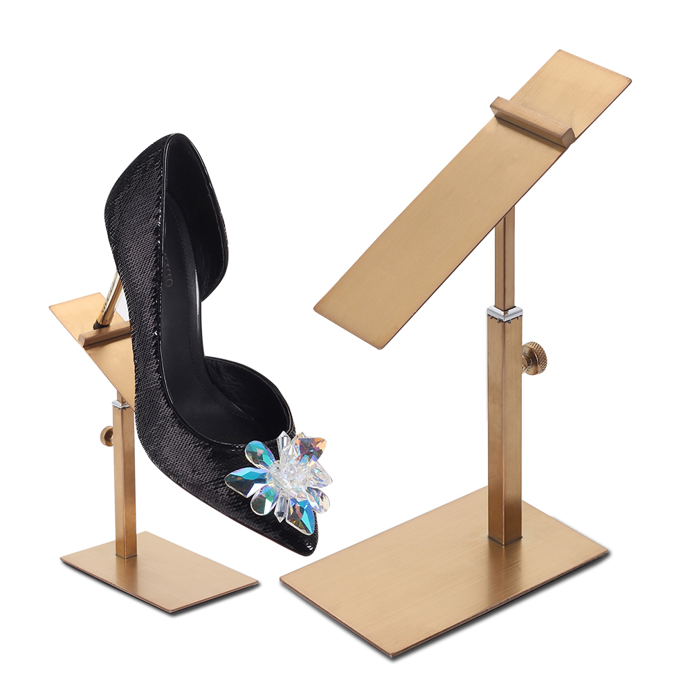 Stainless Steel Gold Shoe Display Stand Metal Shoe Riser Stand Shoe Stand Sandal Riser Sandal Display chair riser