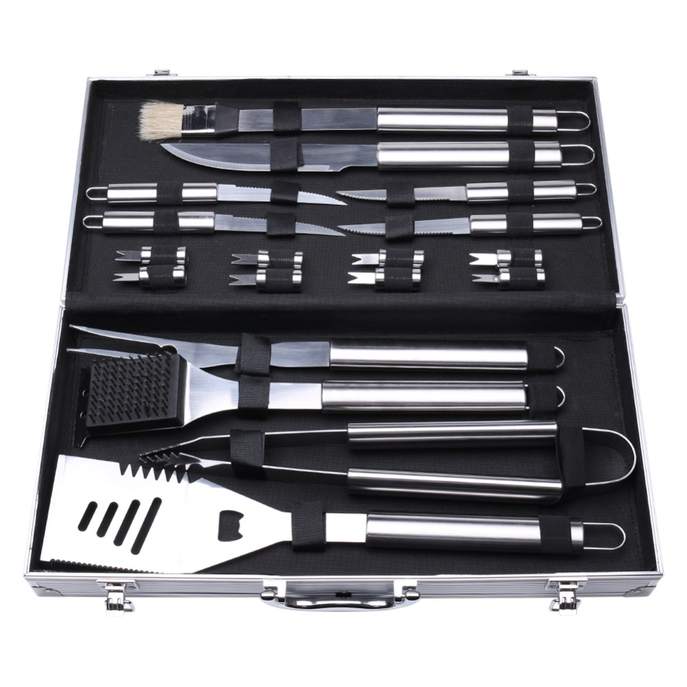Bbq tool sets stainless steel barbecue grill skewers corn