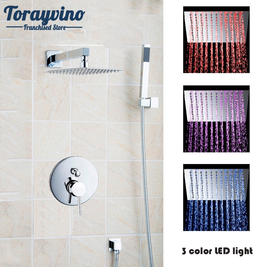 Shower Faucets Home Improvement Torayvino Bathroom In Wall Mounted Shower Set With 8led Rain Shower Head Polished Chrome Hand Shower Set Agreeable To Taste